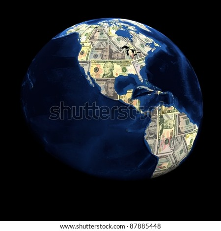 Global currency dollars replacing land illustration - stock photo