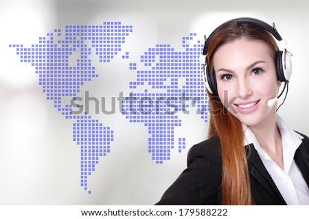 Global customer service worker Business Woman customer service worker, call center operator with phone headset - stock photo