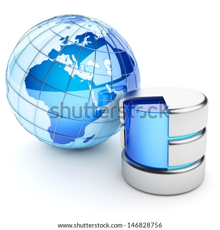 Global data repository. Hosting concept. Isolated on white. Elements of this image furnished by NASA. - stock photo