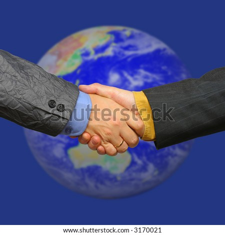 global deal, with blue background - stock photo