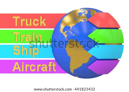 Global delivery and shipping concept, 3D rendering isolated on white background - stock photo