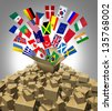 Global delivery Shipping and international package sending as a world parcel concept made of a mountain of cardboard boxes as a volcano with a group of flags as a symbol of fast service. - stock photo