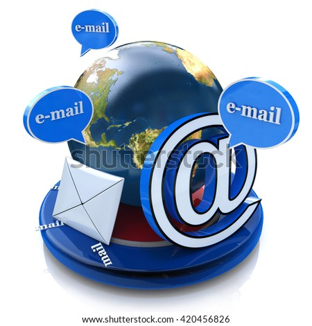 Global e-mail. Email concept, word email with envelope in the design of the information related to the Internet and messaging. 3d illustration - stock photo