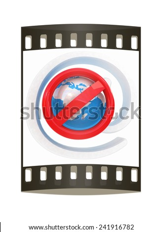 Global e-mail protection with prohibition of spam on a white background. The film strip - stock photo