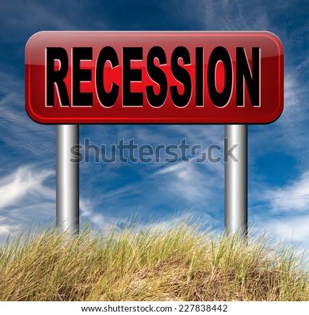 global economic recession crisis bank and stock crash economy and financial bank recession market crash road sign   - stock photo