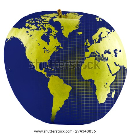Global Education or Apple World. Blue map superimposed over green apple.