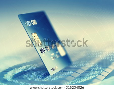 Global electronic internet credit card payment and commerce (3D render) - stock photo