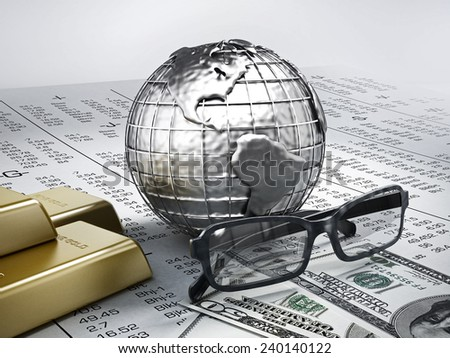 Global finance concept, gold and money on stock exchange page. - stock photo