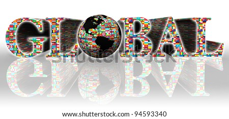 global flags word and earth globe on white background - stock photo