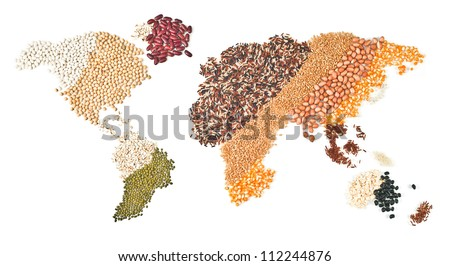 global foods on white background - stock photo
