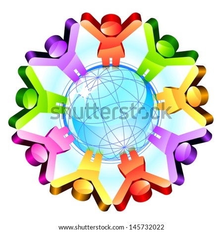 Global friendship concept with shiny people signs and globe. Raster version. Vector is also available in my gallery