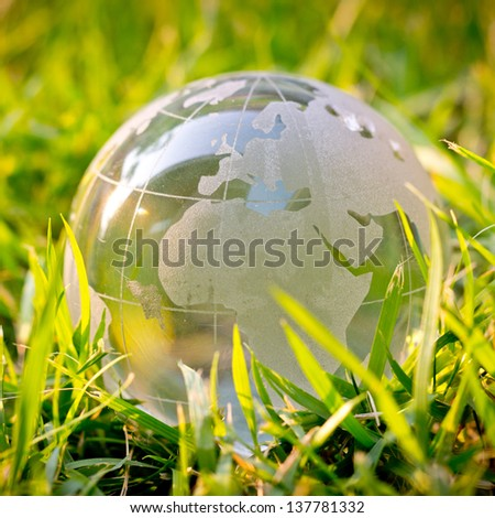 Global grass with save the world concept - stock photo