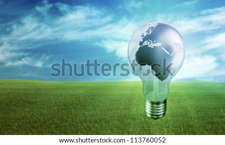 Global green eco-friendly energy concept background - stock photo