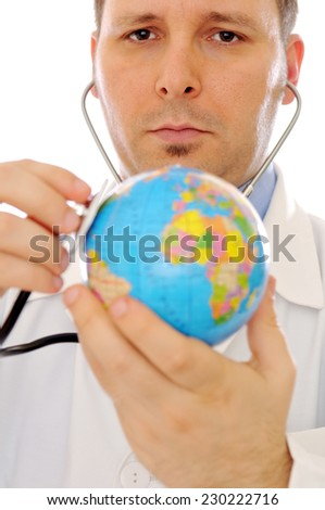 Global Health care on the white background. Isolated on white - stock photo