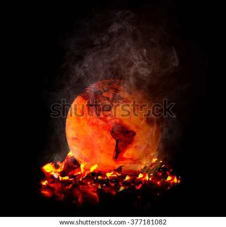 Global Heating Flamed - stock photo