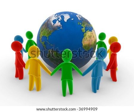 Global human chain - stock photo
