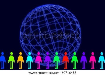 global - human chain - stock photo