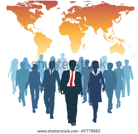 Global human resources business people work team walk forward from world map - stock photo