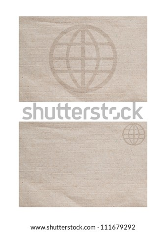 Global icon on paper textured and background