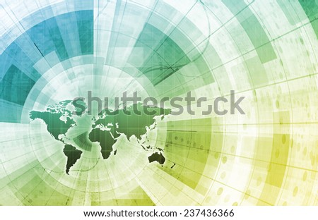 Global Integration Network with World Map as Art - stock photo