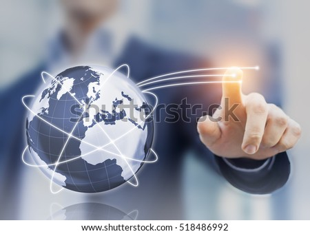 Global internet telecommunication concept with 3d globe, satellite orbits, and high speed optic fibers