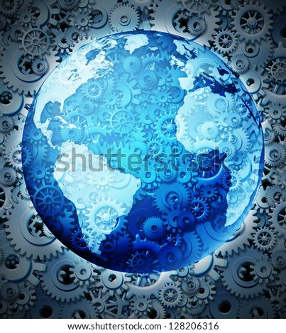 Global investment and business economy as a three dimensional world map on a texture of gears and cogs for financial international trade and wealth management through a network of connections. - stock photo