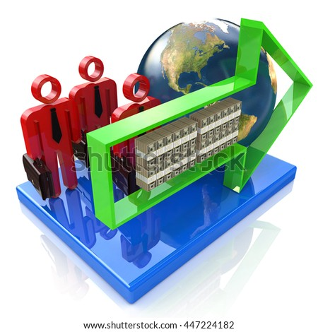 Global investment concept in the design of information related to the business and the world. 3d illustration - stock photo