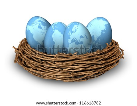 Global investments and international finance business symbol with four blue eggs with maps of the world in a nest as a concept of savings in regions as Asia North America Europe and Latin America. - stock photo