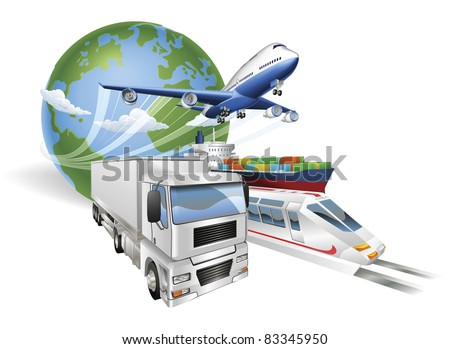 Global logistics concept illustration.. Globe, airplane (aeroplane), truck, train and cargo container ship. - stock photo