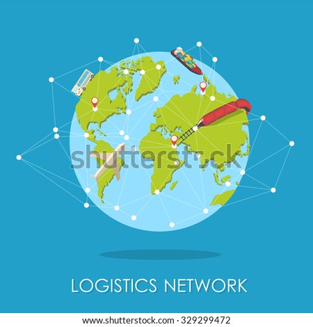 Global logistics, shipping and worldwide delivery business concept: blue Earth planet globe surrounded by net of route with plane, train and ship isolated on white blue background - stock photo
