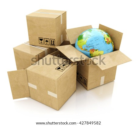 Global logistics, shipping and worldwide delivery business concept: Earth planet globe and heap of stacked corrugated cardboard boxes with parcel goods isolated on white background. 3d illustration - stock photo