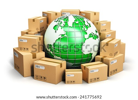 Global logistics, shipping, worldwide delivery business and ecology concept: green Earth planet globe surrounded by heap of stacked corrugated cardboard boxes with parcel goods isolated on white - stock photo