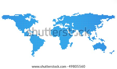 global map from blue metallic balls on a white background - stock photo