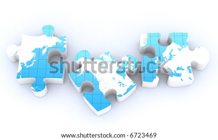 global map puzzles communication - stock photo