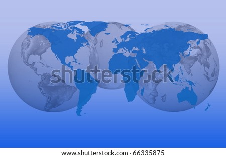 global map with a planet Earth in the background