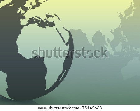 global map with a planet Earth in the background - stock photo