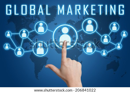 Global Marketing concept with hand pressing social icons on blue world map background. - stock photo