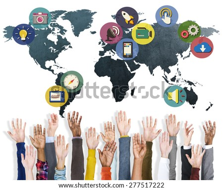 Global Media Social Media International Connection Concept - stock photo