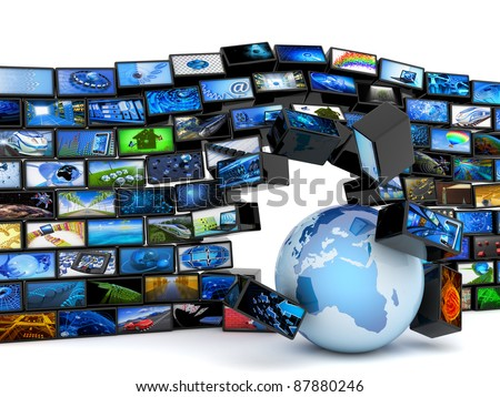 Global media technology - stock photo