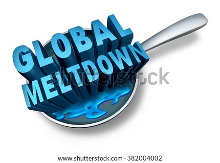 Global meltdown and financial crisis as a bankruptcy finance concept as an economy in trouble and business slump concept on a white background.