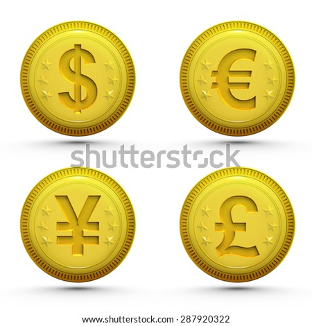 global money golden coins isolated on white business theme rendering illustration collection - stock photo