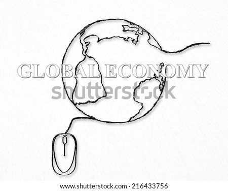 Global network, economy concept. Consumer, customer and producer, business interconnection. On line e-commerce, digital technology. Worldwide social media, communication, exchange of information idea  - stock photo