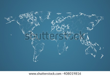 Global network. Social communications background. 3D world map illustration