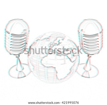 Global online with earth and mics. Pencil drawing. 3D illustration. Anaglyph. View with red/cyan glasses to see in 3D. - stock photo