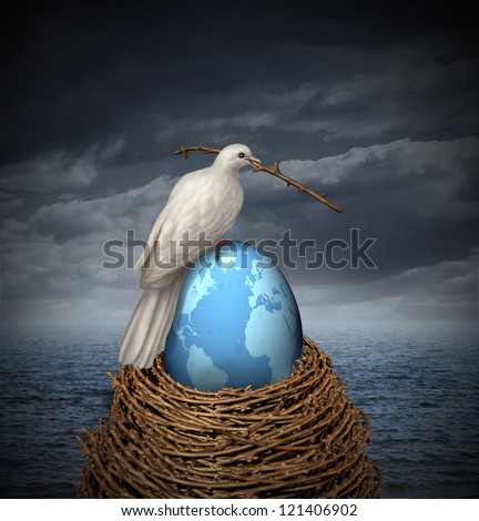 Global Peace and hope for no war in the middle east and the rest of the planet with a white dove building a nest with twigs and a fragile egg with the map of the world on a cloudy sky and ocean. - stock photo