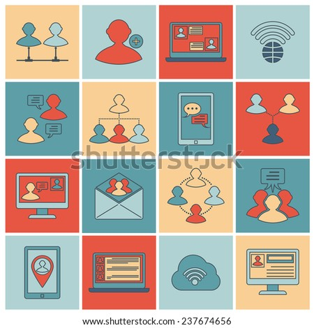 Global people mobile phone and tablets communication social connection outline icons set isolated  illustration