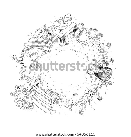 Blackwork Tattoo Flash Crescent Moon Peony Stock Vector