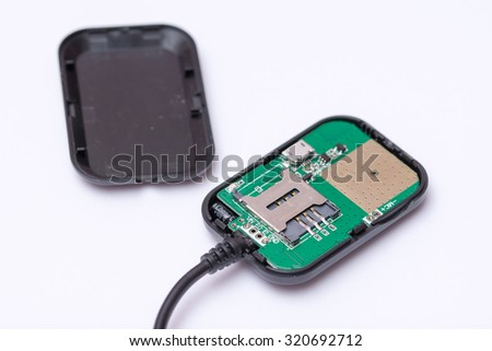 Global positioning system tracking device with sim card.