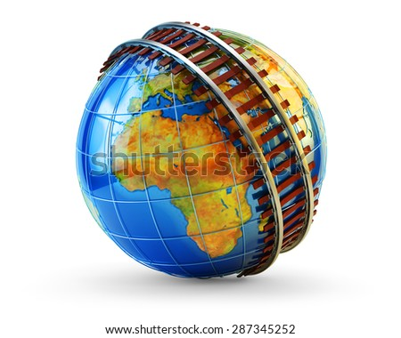Global railway transportation concept, railroad track around planet Earth globe isolated on white background (Elements of this image furnished by NASA) - stock photo
