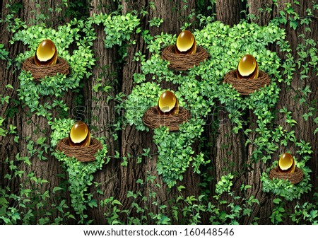 Global retirement investment financial concept as an old forest with a growing green vine shaped as a world map with a group of golden egg nest as a metaphor for diversified investing globally - stock photo